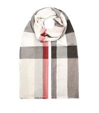 Burberry Shoes And Accessories Sheer Check Scarf Female White