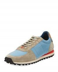 Burberry Men's Suede And Technical Satin Trainers With Check Trim Light Taupe Brown Powder Blue Multi