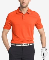 Izod Men's Striped Performance Golf Polo Orange
