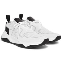 Berluti Leather Trimmed Mesh Sneakers White