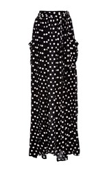Mara Hoffman Polka Dot Maxi Skirt Black White