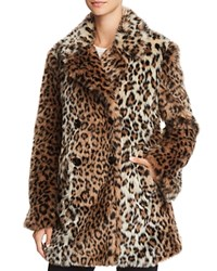 Joie Tiaret Leopard Printed Faux Fur Coat Old Oak