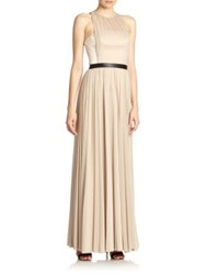 Abs By Allen Schwartz Mixed Media Overlay Gown Taupe Coral