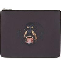 Givenchy Rottweiler Leather Pouch Brown