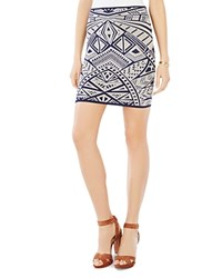 Bcbgmaxazria Pavel Medallion Jacquard Body Con Skirt Dark Ink Combo