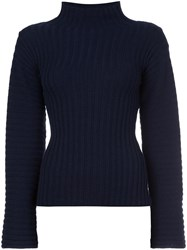 Derek Lam High Neck Ribbed Jumper Blue