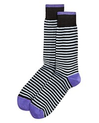 Bloomingdale's The Men's Store At Stripe Mercerized Cotton Blend Dress Socks Black
