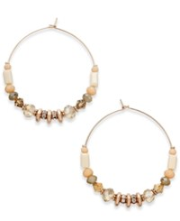 Inc International Concepts Rose Gold Tone Pave And Multi Bead Hoop Earrings Only At Macy's