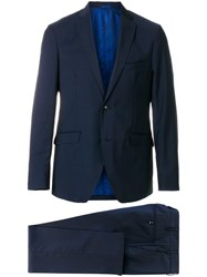 Etro Two Piece Formal Suit Polyester Acetate Cupro Wool Blue