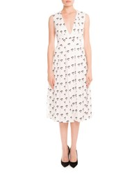 Victoria Beckham Sleeveless Pleated Daisy Print Midi Dress Multi Multi Colors