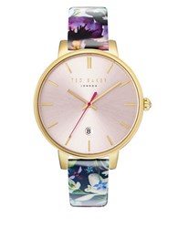 Ted Baker Kate Round Stainless Steel And Floral Print Leather Strap Watch Purple