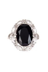 Savvy Cie White Topaz And Black Onyx Empire Ring Metallic
