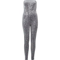 River Island Womens Metallic Grey Sequin Bandeau Jumpsuit