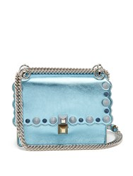 Fendi Kan I Small Canvas And Leather Cross Body Bag Light Blue