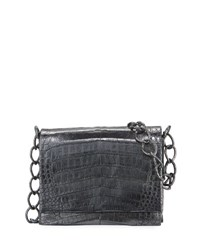 Nancy Gonzalez Small Metallic Crocodile Chain Shoulder Bag Black