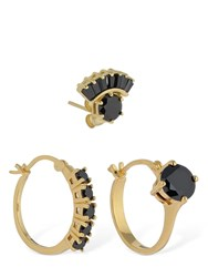 Iosselliani Set Of 3 Mismatched Earrings W Crystals Gold