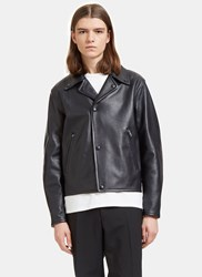 Acne Studios Awe Leather Biker Jacket Navy