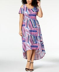 Ny Collection Plus Size Cold Shoulder Fit And Flare Dress Pink Woodpetal