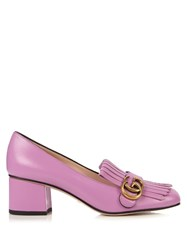 Gucci Marmont Fringed Leather Loafers Light Pink