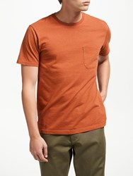 John Lewis And Co. Overdyed Cotton Marl Pocket T Shirt Rust