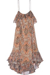 Zimmermann Harlequin Heriz Printed Crinkled Silk Georgette Midi Dress Orange Light Gray