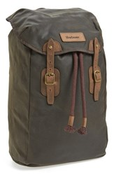 Men's Barbour Waxed Canvas Backpack Green Olive