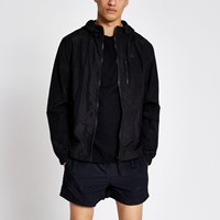 River Island Pastel Tech Black Nylon Hooded Jacket