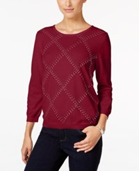Alfred Dunner Petite Classics Embellished Sweater Red