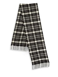 Saks Fifth Avenue Collection By Johnstons Boucle Tartan Scarf Black White