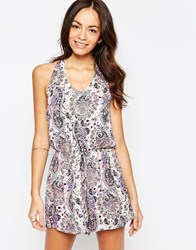 Influence Paisley Halter Neck Playsuit Pink