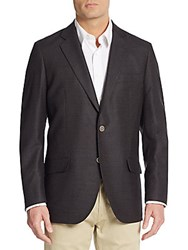 Saks Fifth Avenue Slim Fit Textured Wool Sport Coat Brown