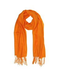 Mila Schon Long Scarves Orange Wool And Cashmere Fringed Stole