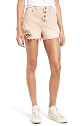Sun And Shadow Women's Destroyed High Rise Denim Shorts Tan Latte