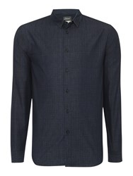 Linea Owen Long Sleeve Grid Print Shirt Blue