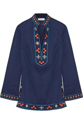 Tory Burch Appliqued Embellished Cotton Tunic Navy