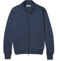 Canali Slim Fit Ribbed Melange Wool Zip Up Sweater Navy
