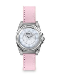 Breil Milano Manta Crystal Mother Of Pearl Stainless Steel And Leather Strap Watch Silver Pink