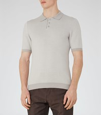 Reiss Tisley Mens Jacquard Weave Polo Shirt In Brown
