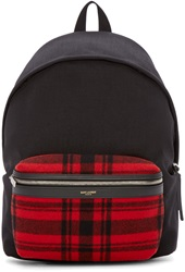 Saint Laurent Black And Red Plaid Canvas Backpack