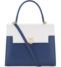 Launer Traviata Quest Leather Shoulder Bag Navy White Gold