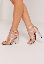 Missguided Crushed Heel Satin Gladiator Block Heel Nude Champagne