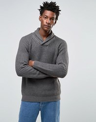 Selected Shawl Neck Knitted Jumper Grey