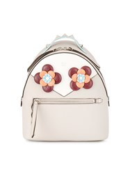 Fendi Floral Eyes Leather Backpack Leather Nude Neutrals