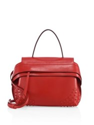 Tod's Wave Small Leather Satchel Red Currant