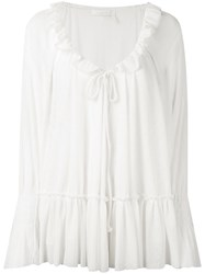 See By Chloe Frilled Peasant Blouse Women Cotton Polyester Xs Nude Neutrals