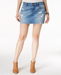 Lucky Brand Ripped Fort Ross Wash Denim Mini Skirt