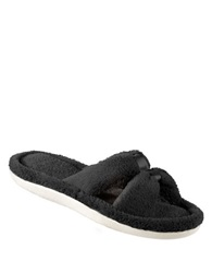 Isotoner Microterry Satin Xslide Slippers Black