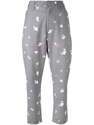 Golden Goose Deluxe Brand Printed Chinos Women Cotton Virgin Wool M Grey