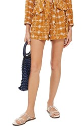 Topshop Embroidered Crinkle Shorts Mustard Multi