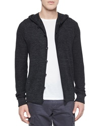 Vince Long Sleeve Hooded Cardigan Black